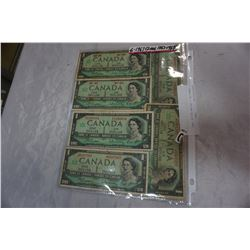 6 CANADIAN 1 DOLLAR BILLS 1967