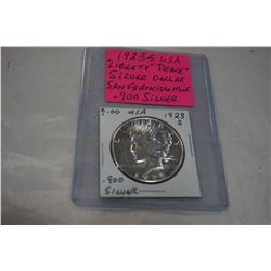 1923 S USA LIBERTY PEACE SILVER DOLLAR, SAN FRANCISCO MINT .900 SILVER