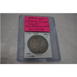 1890 S USA MORGAN SILVER DOLLAR SAN FRANCISCO MINT .900 SILVER