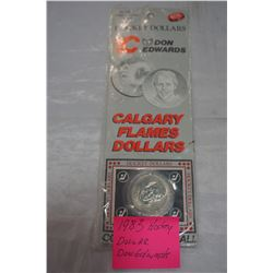1983 HOCKEY DOLLAR DON EDWARDS CALGARY FLAMES DOLLAR