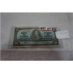 1937 KING GEORGE 5 DOLLAR BILL