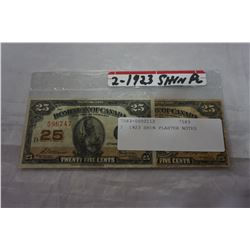 2 1923 SHIN PLASTER NOTES