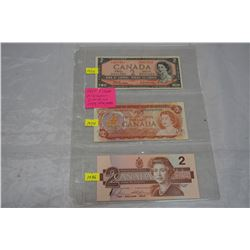 LAST 3 ISSUES OF CANADIAN $2 BILLS 1954, 1974, 1986