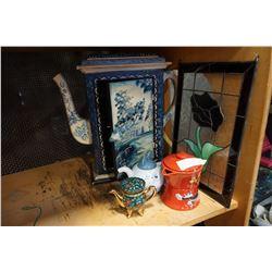 DISNEY AND WARNER BROS TEAPOTS, METAL TEAPOT, TEAPOT CUPBOARD, AND LEADED GLASS PANEL