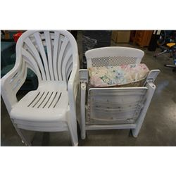 3 WHITE PATIO CHAIRS AND LOUNGE CHAIR