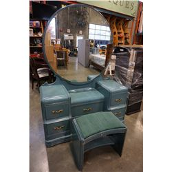 PAINTED 5 DRAWER VANITY DRESSER W/ MIRROR AND STOOL ANTIQUE