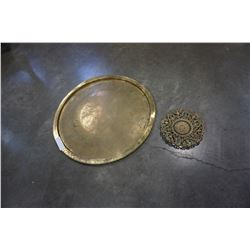 LARGE BRASS PLOTTER AND TRAY