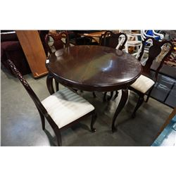 QUEEN ANNE ROUND MAHOGANY DINING TABLE W/ LEAF AND 4 CHAIRS