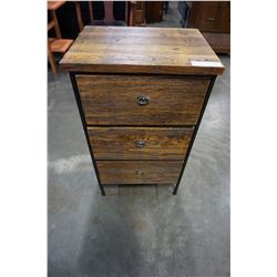 3 DRAWER METAL AND WOOD RUSTIC END TABLE