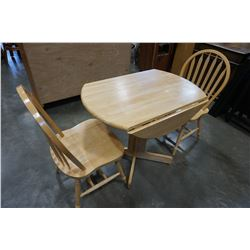 DROP LEAF MAPLE DINING TABLE AND 2 CHAIRS