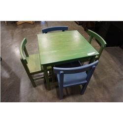 GREEN KIDS TABLE W/ 2 BLUE AND 2 GREEN CHAIRS