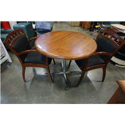 ROUND DINING TABLE AND 2 ARM CHAIRS