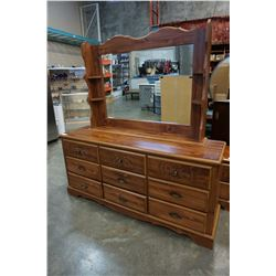 9 DRAWER CARVED DRAWER DRESSER W/ MIRROR