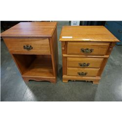 2 MAPLE NIGHT STANDS 1 AND 3 DRAWER