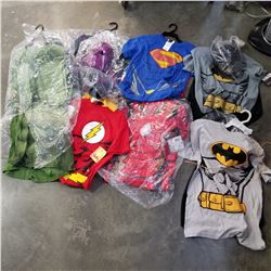 6 NEW KIDS SUPER HERO COSTUME SHIRT AND MASK - SUPERMAN, FLASH, VISON, HULK, BATMAN