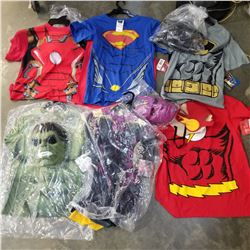 6 NEW KIDS SUPER HERO COSTUME SHIRT AND MASK - SUPERMAN, FLASH, VISION, IRON MAN