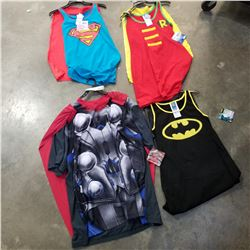 4 NEW ADULT SUPERHERO COSTUME T-SHIRTS AND TOPS - RETAIL $120