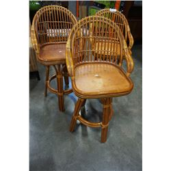 SET OF 3 RATTAN SWIVEL BAR STOOLS