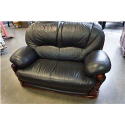 BLACK LEATHER WOOD FRAMED LOVE SEAT