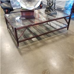 INDUSTRIAL MODERN 2 TIER GLASS TOP COFFEE TABLE