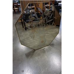 BRASS FRAMED OCTAGON DECORATIVE MIRROR