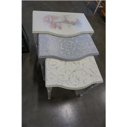HAND PAINTED 3-TIER NESTING TABLES