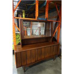 MID CENTURY WALNUT HUTCH AND SERVER W/ SLIDING GLASS DOORS
