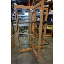 ROLLING GLASS DISPLAY RACK W/ SHELF BRACKETS, NEEDS SHELVES
