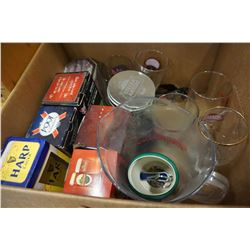 BOX OF BEER GLASSES AND PITCHER