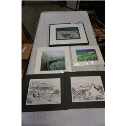 LOT OF 5 SMALL PRINTS