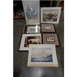 LOT OF HORSE PRINTS AND SHIP PRINTS