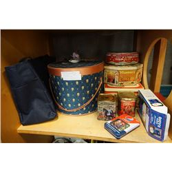 VINTAGE HAT BOX PIN AND TINS AND PEPSI COLLECTABLES