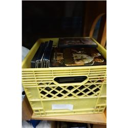YELLOW CRATE OF DVDS