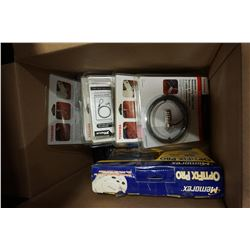 BOX OF COMPUTER LOCKS AND WALKIE TALKIES AND CD CLEANER