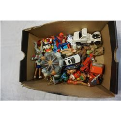 BOX OF MOSTLY VINTAGE TOYS, HOTWHEELS, FISHER PRICE, STARWARS, ETC