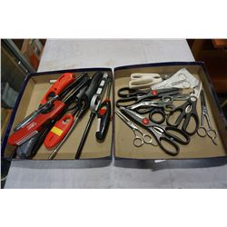 TRAY LOT OF SCISSORS - SOME SURGICAL/SOME BARBER AND TRAY LOT OF BBQ LIGHTERS
