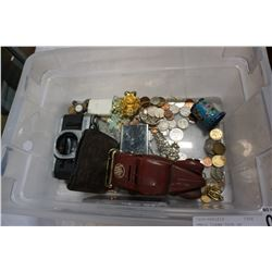 SMALL CLEAR TOTE OF COLLECTIBLES AND WORLD COINS