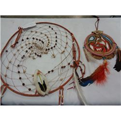 LARGE DREAM CATCHER W/ REAL FEATHERS AND HAND BEAD WORK AND SMALL HAND PAINTED SIGNED BY RICHARD MAT