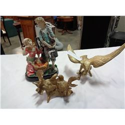 BRASS EAGLE, BIRD FIGURES, AND BOY AND GIRL FIGURE
