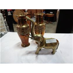 BRASS ELEPHANT AND COPPER VASES W/ INSERTS
