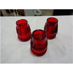 3 RED GLASS HANDLAN REPLACEMENT RAILROAD LANTERN SHADES