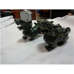 2 GREEN STONE EASTERN DRAGON FIGURES