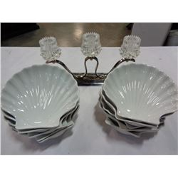 OYSTER DISHES AND CRYSTAL CANDLE HOLDER