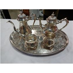 SILVER PLATED TEA SET ON TRAY