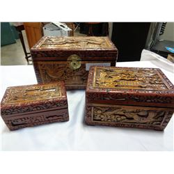 3 CARVED EASTERN NESTING BOXES