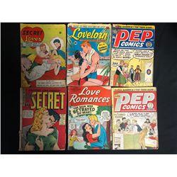 VINTAGE COMIC BOOK LOT (PEP COMICS/ LOVE ROMANCES...)