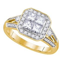 1 CTW Princess Diamond Cluster Bridal Engagement Ring 14KT Yellow Gold - REF-146Y9X