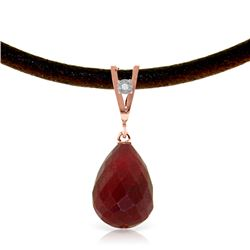 Genuine 15.51 ctw Ruby & Diamond Necklace Jewelry 14KT Rose Gold - REF-30W2Y