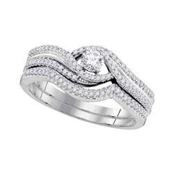 0.38 CTW Diamond Bridal Wedding Engagement Ring 10KT White Gold - REF-52X4Y