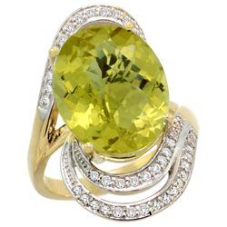 Natural 11.2 ctw lemon-quartz & Diamond Engagement Ring 14K Yellow Gold - REF-89G9M